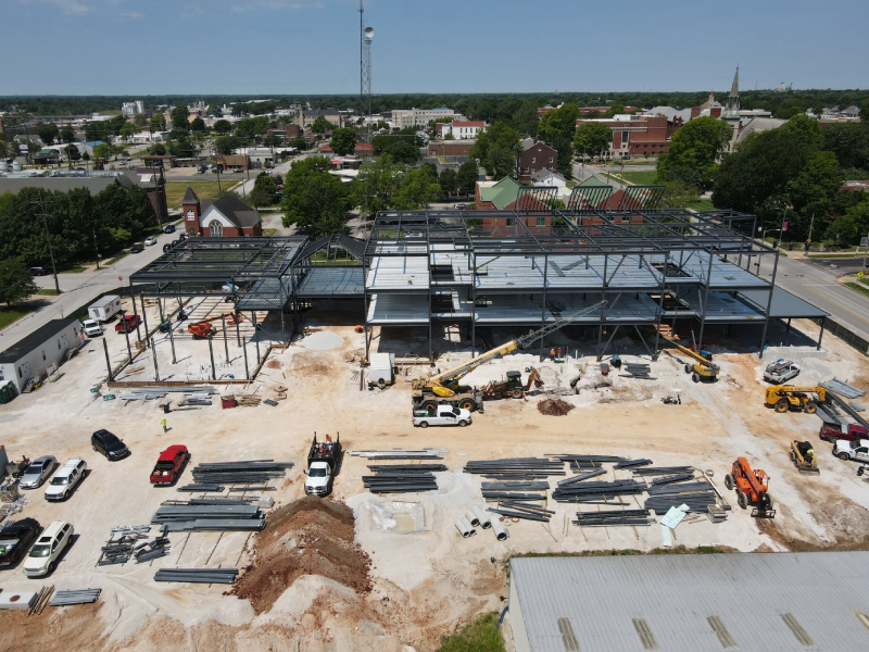 Exterior images of the construction of the Enterprise Center.