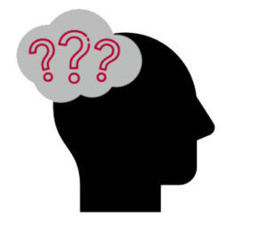 Clip art human head with a cloud bubble of question marks.
