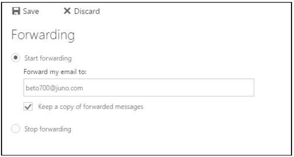 Screen shot of mail forwarding screen.